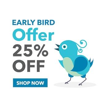 Early bird offer vector banner design