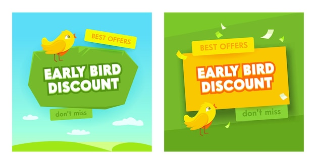 Early bird sale banners set. promotion discount special business offers, promotion.