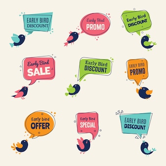 Early bird. special offers badges discounts labels with birds advertising signs collection.