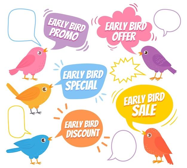 일찍 일어나는 새. 새와 말풍선, 특별 판매, 판촉 시장, 할인 광고 가격 만화 벡터 세트가 있는 세련된 디자인. 프로모션 알림. 트렌디한 디자인 템플릿
