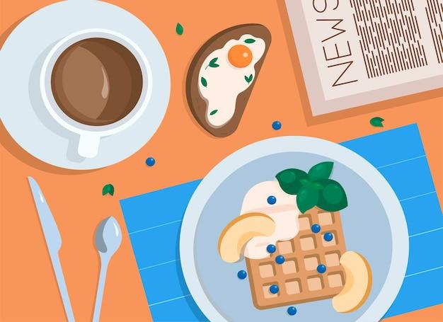 Ранний завтрак в кафе при чтении газеты