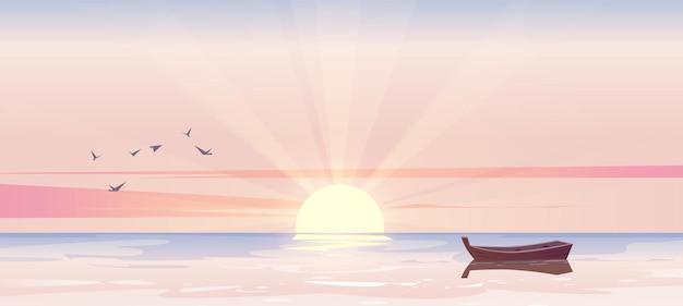 Рано утром пейзаж морской пейзаж одинокая деревянная лодка Бесплатные векторы
