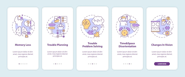 Early signs of dementia onboarding mobile app page screen with concepts