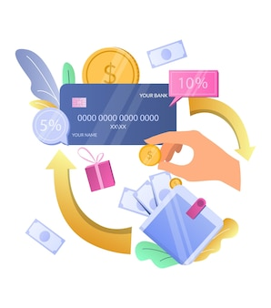 キャッシュバックボーナスを獲得するキャッシュバッククレジットカード報酬ベクトルイラストキャッシュバック報酬インセンティブプログラム