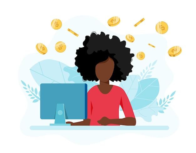オンラインでお金を稼ぎ、在宅勤務のイラスト