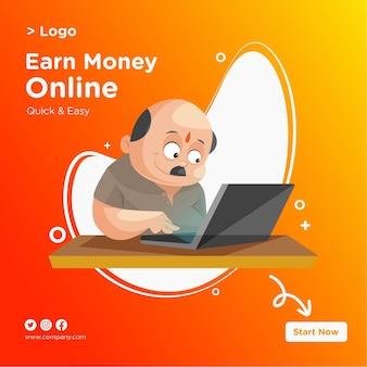 Зарабатывайте деньги онлайн-дизайн баннера с продавцом, работающим на ноутбуке