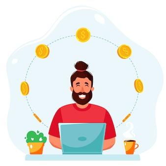 온라인으로 돈을 버십시오. 노트북과 동전을 가진 남자입니다. 원격 작업, 프리랜서 개념.