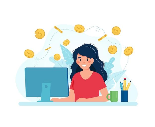 Зарабатывайте деньги в интернете, женщина с компьютером и монетами.