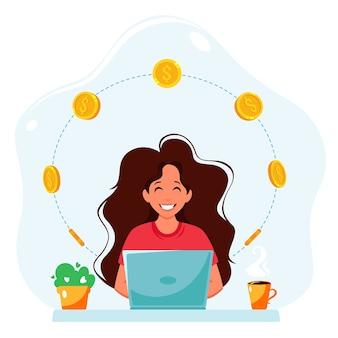온라인으로 돈을 버십시오. 노트북과 동전을 가진 여자입니다. 원격 작업, 프리랜서 개념.