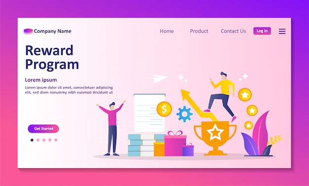 Earn point concept landing page