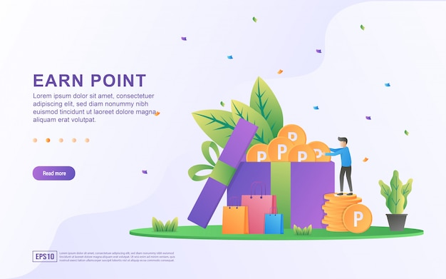 Earn point illustration concept. loyalty program and get rewards, customer reward loyalty program, earn bonuses, gift cards.