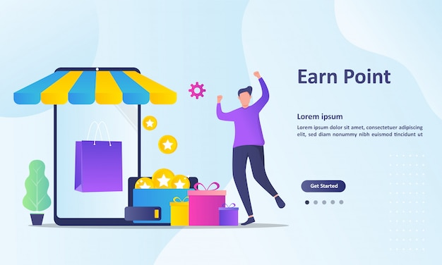 Earn point landing page template