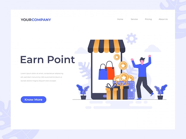 Earn point landing page