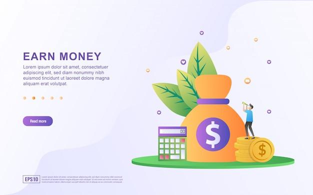 Плоская концепция проекта earn point. люди получают баллы за покупки в интернете, набирают баллы, чтобы обменять их на ваучеры.