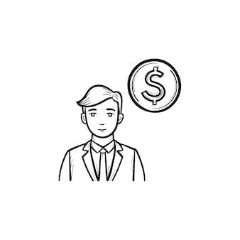 お金を稼ぐ手描きのアウトライン落書きベクトルアイコン。お金の稼ぎは、白い背景で隔離の印刷物、ウェブ、モバイル、インフォグラフィックのイラストをスケッチします。
