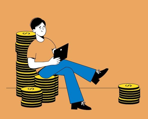 돈 벌기, 자본 증가, 금전적 이익. 그의 손에 노트북을 가진 남자는 금화 더미에 앉아있다. 플랫 스타일의 그림.