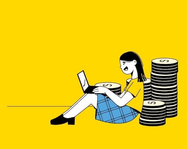 돈 벌기, 자본 증가, 금전적 이익. 여자는 집에서 일하고, 그녀의 손에있는 노트북, 그녀의 뒤 그림 뒤에 금화 더미
