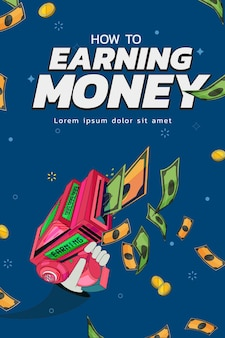 Earning money poster concept. gun and banknote