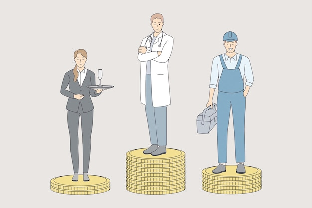 Earning money in various spheres concept. young workers waiter repairman and doctor cartoon character standing on various heaps of golden coins vector illustration