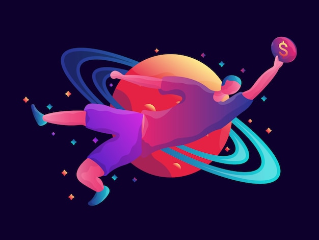 Earning space illustration
