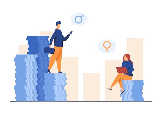 Гендерная дискриминация в доходах. мужчина и женщина получают разную зарплату. иллюстрации шаржа