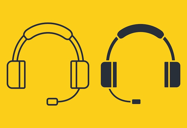 Earphones icon. headphones in glyph and in outline style. headset in silhouette. headphones with microphone, can be used for listening music, customer service or support, online events. vector