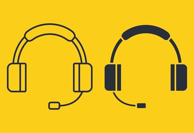 イヤホンアイコン。グリフとアウトラインスタイルのヘッドフォン。シルエットのヘッドセット。マイク付きヘッドホンは、音楽鑑賞、カスタマーサービスまたはサポート、オンラインイベントに使用できます。ベクター