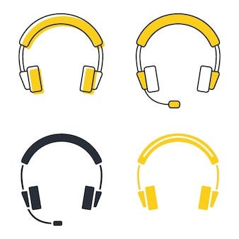 グリフのイヤホン、アイコンが設定されています。シルエットのヘッドセット。マイク付きヘッドホンは、音楽鑑賞、カスタマーサービスまたはサポート、オンラインイベントに使用できます。ベクター