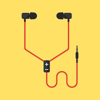 노란색 배경에 고립 된 이어폰입니다. 멜로만 아이템, 이어버드, 귀마개, 멀티미디어, 힙스터 라이프스타일, 조정, 서라운드, 기록의 개념. 플랫 스타일 트렌드 현대적인 디자인 벡터 일러스트 레이 션