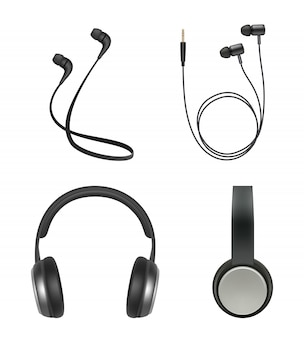 Earphones realistic. headphone music accessory electronic items vector collection