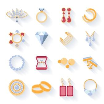 イヤリングとリング、カフスボタンとネックレス、ペンダントとフラットアイコン。ベクトルイラスト