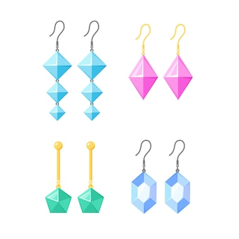 Earrings collection gold or silver accessories with gemstones diamonds precious stone jewellery