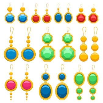 Earrings design illustration isolated on white background