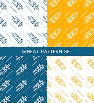 Ears of wheat seamless patterns set of different colors in hand drawn style