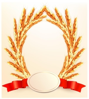 Ears of wheat with label.