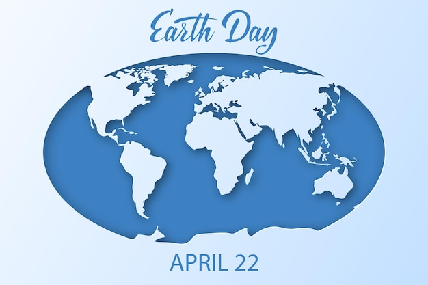 Eart day background. white and blue world map of planet earth with oceans and continents.