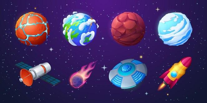 Земля инопланетные планеты ракета нло космический корабль и метеор на фоне космического пространства со звездами вектор c ...