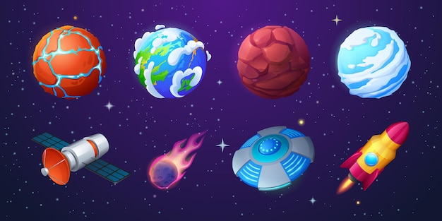 Earth alien planets rocket ufo spaceship and meteor on background of outer space with stars vector c...