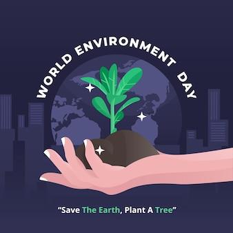 地球と苗を持っている手