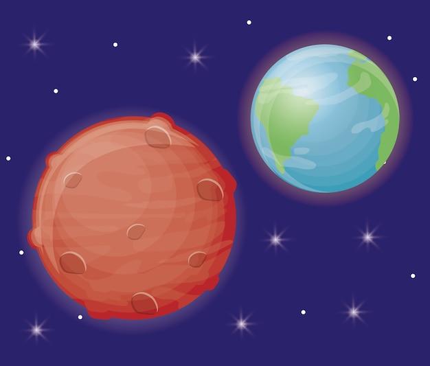 地球と火星の惑星のアイコン