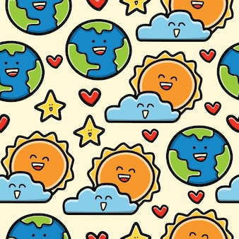 지구와 태양 만화 낙서 원활한 패턴 디자인 벽지