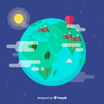 Earth background in flat design