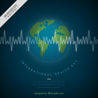 Earth background with a cardiogram