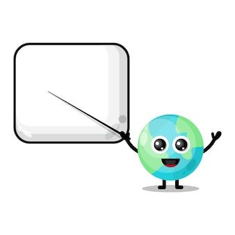 Earth becomes a teacher cute character mascot