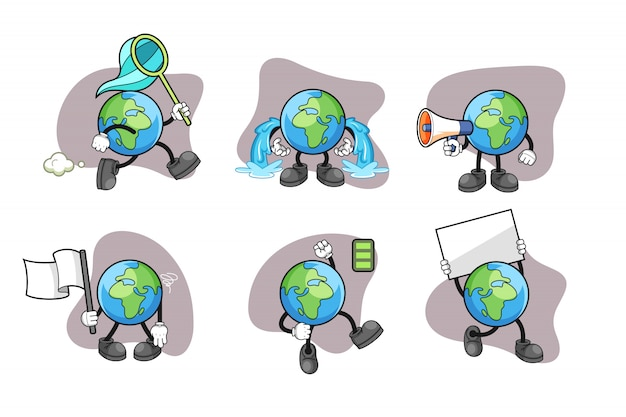 Earth cartoon character set