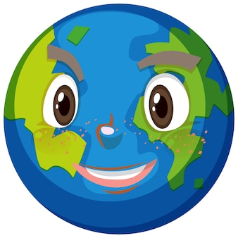 Earth cartoon character with happy face expression on white background