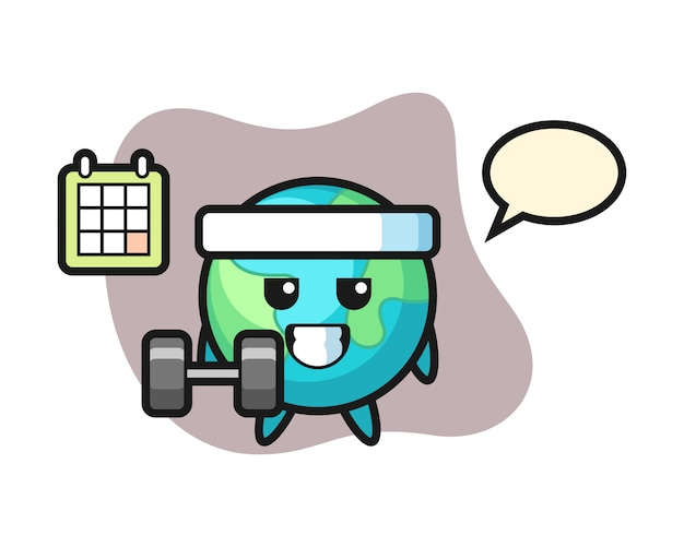 Earth cartoon doing fitness