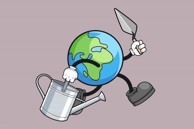 Earth cartoon is gardening