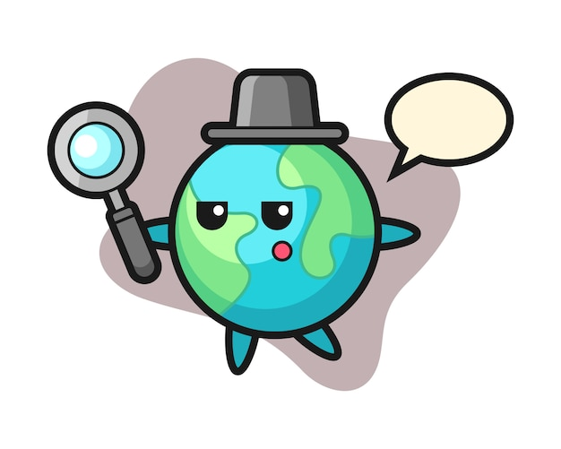 Earth cartoon searching with a magnifying glass