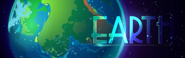 Earth cartoon style banner of  planet in universe